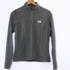 North Face Microfleece Quarter Zip Pullover Gray S